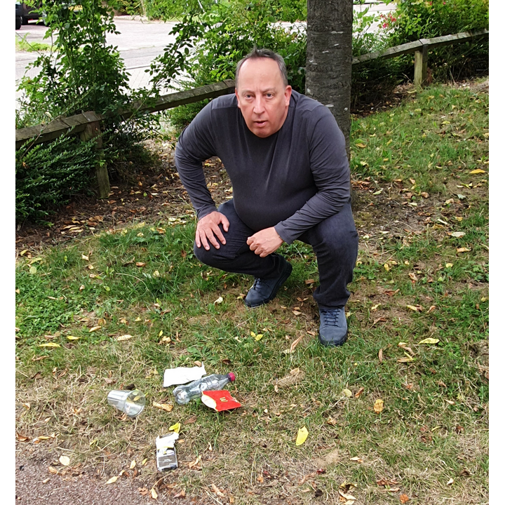 Peter Cannon with litter
